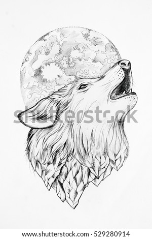 sketch of wolf howling at the moon white background
