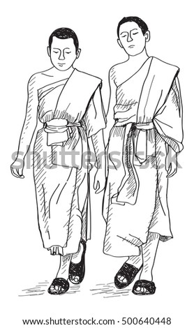 sketch of young buddhist monks walking on street in Thai, Chiangmai, free hand draw illustration