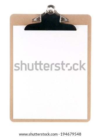 Sketch pad (clipboard) with empty paper isolated on white