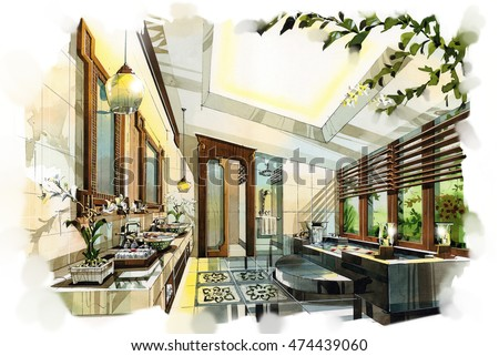 sketch perspective interior design sketches painting to watercolors - Interior Design Sketches