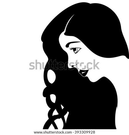Sketch portrait in profile beautiful girl profile  illustration - stock photo