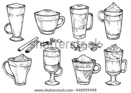 Sketch set of Coffee kind menu drinking cup. Hand drawing illustration isolated on white background. Espresso, cappuccino, glace, latte, irish, mocha, coffee dessert - stock photo