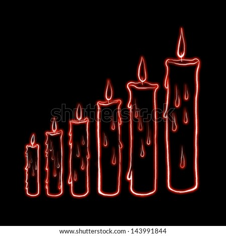 sketch step candle with laser light illustration - stock photo