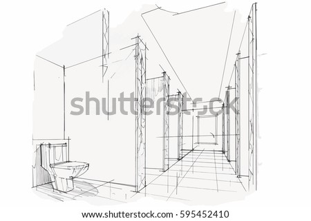 sketch streaks toilet bathroom black and white interior design vector sketch