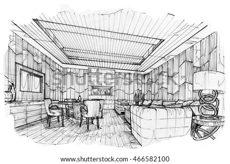 sketch stripes living VIP room, black and white interior design.