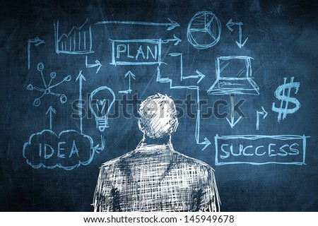 Sketch successful businessman concept with solution diagram - stock photo