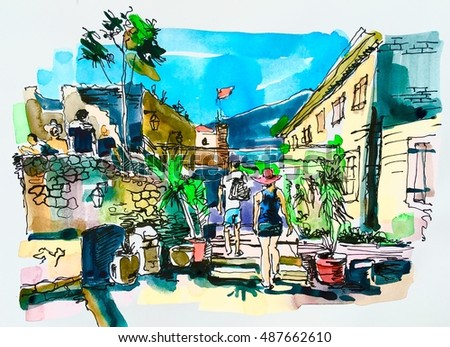 Sketch watercolor of Budva Montenegro old fortress landscape, aquarelle drawing to travel book