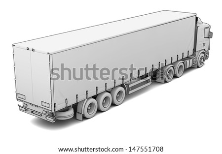 Sketch white truck. Isolated render on a white background - stock photo
