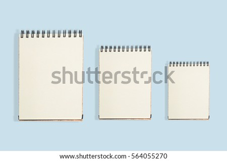 Sketchbook for Artist, Blank Three face white paper notebook vertical, Notebook for Education and Student short Note, Blank calendar on isolated pastel background
