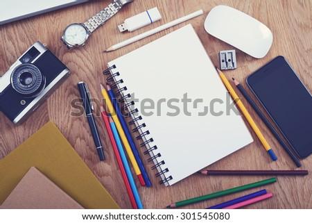 Sketchbook mockup - stock photo