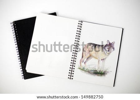 Sketchbook with drawing of a coyote - stock photo