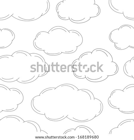 Sketched clouds, seamless pattern