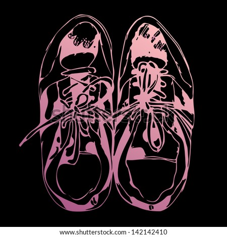 Sketched pink sport shoes on black background. Raster version, editable vector file also available at my port. - stock photo
