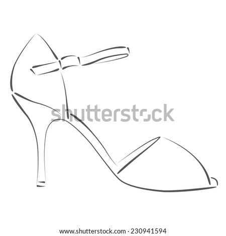 Sketched woman's shoe for Argentine tango dancing. Design template for label, banner, postcard. Raster illustration. - stock photo