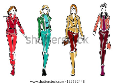 Sketches of fashion models with woman cloth and accessories. Vector version also available in gallery - stock photo