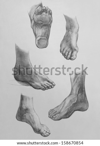 Sketches of Feet:  Show of Feet. It is a Pencil Drawing