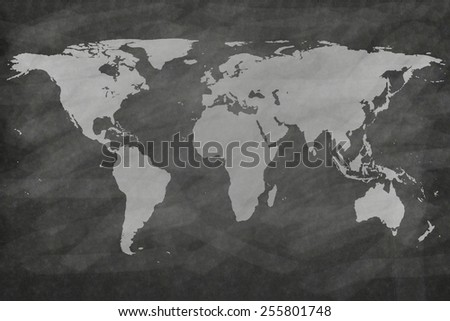 sketches world map on chalkboard - stock photo