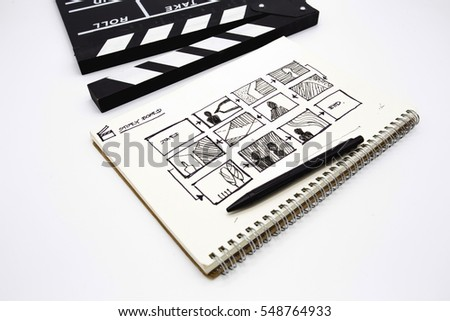 Sketching drawing of movie with clapperboard on white background
