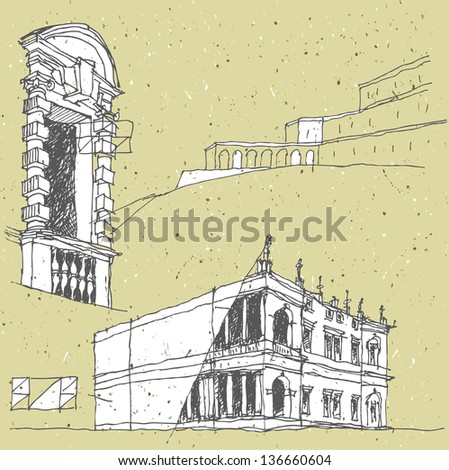 Sketching Historical Architecture in Italy: Florence, Tuscany. (for vector see image 115366339)