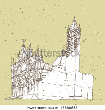 Sketching Historical Architecture in Italy: Sienna, Tuscany. (for vector see image 115366336)