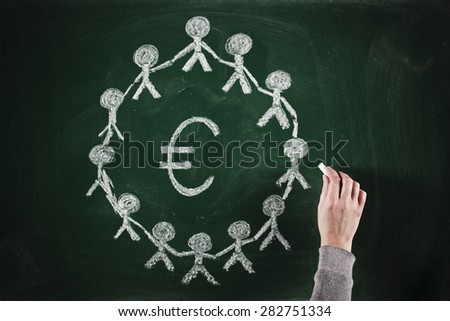 sketching of group of people around euro sign - stock photo