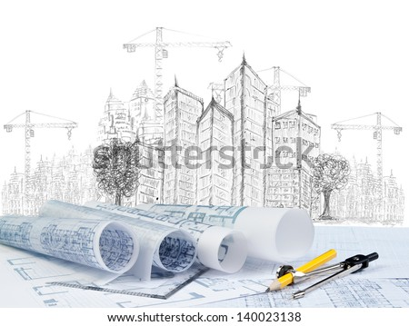sketching of modern building and plan blueprint on architect working table - stock photo