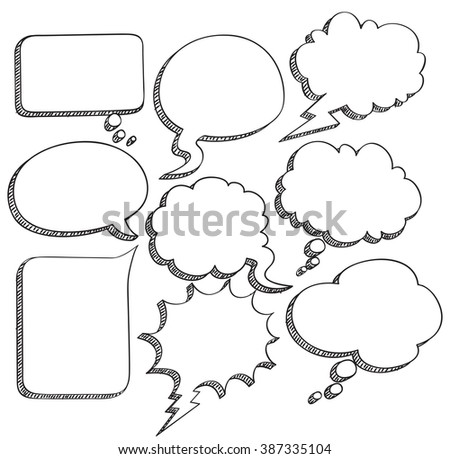 sketchy comic speech bubble - stock photo