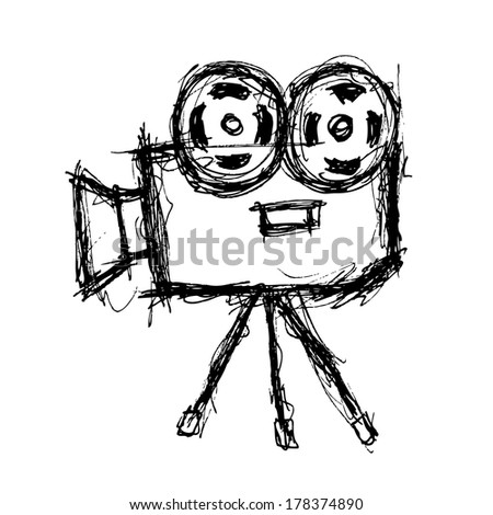 sketchy projector in doodle style - stock photo