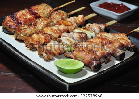 Skewer meat Japanese style on dish