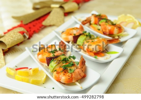 Skewered Prawns with Vegetables