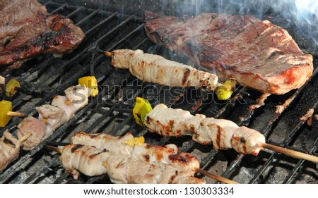 skewers of meat and beef fillet grilled on the barbecue in the garden - stock photo