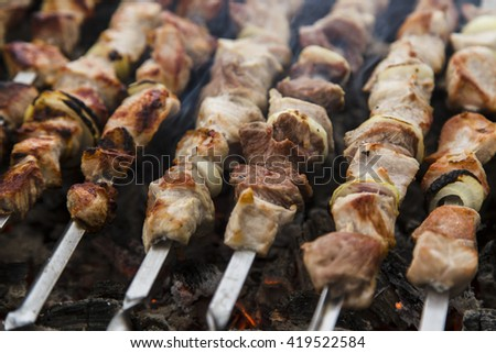 Skewers on the grill - stock photo