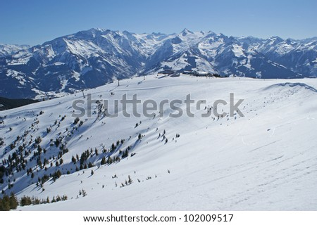 Ski area in the mountains close to Zell am See