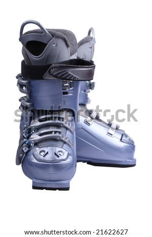 Ski boots are isolated on the white