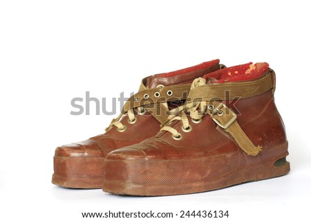 ski boots vintage - stock photo