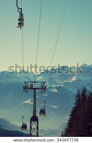 Ski cableway in Switzerland - stock photo