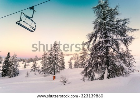 Ski center of Vogel, Triglav natural park, Julian Alps, Slovenia, Europe. - stock photo