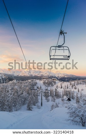 Ski center of Vogel, Triglav natural park, Julian Alps, Slovenia, Europe.