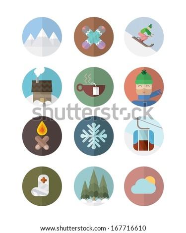 Ski flat icons - stock photo