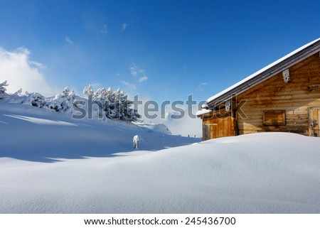 Ski hut in the snowy alps of austria - stock photo