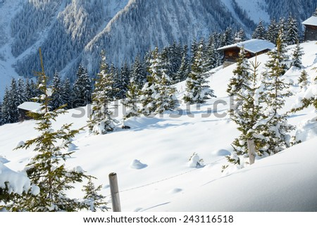 ski huts in winter forest - stock photo