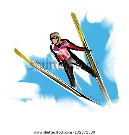 Ski jump - stock photo
