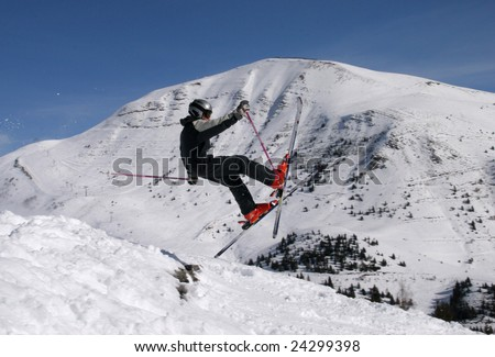 Ski jump (about to fail) - stock photo