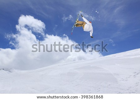 Ski jump on mountains. Extreme winter sport.