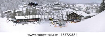 Ski lift and slopes in high mountains. Seefeld, Austria. - stock photo