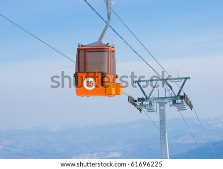 Ski lift cable booth - stock photo