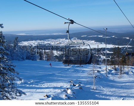 Ski lift in the Ural Mountains. Russia