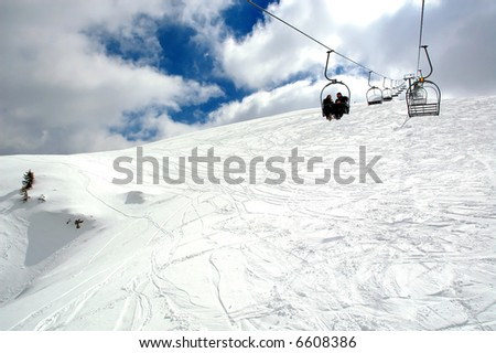 Ski lift. View from bottom.