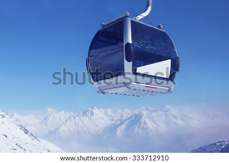 Ski lift with cabins in mountains of Austria