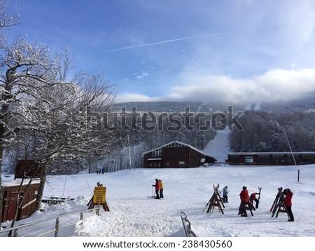 Ski lodge in New Hampshire, USA - stock photo